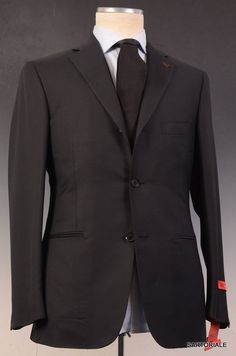 "ISAIA NAPOLI ""Base L"" Black Super 130's Wool Suit EU 48 NEW US 38"