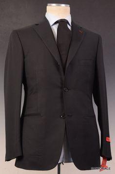 "ISAIA NAPOLI ""Base L"" Black Super 130's Wool Suit EU 48 NEW US 38"