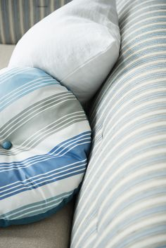The satin stripes of Vionne Fabric give a wonderful classic feel in teal colourway
