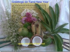 Tamil New Year, Vishu, Vaishaki Greetings to everyone.    An exclusive photo where -      the mango leaves represent hope and acceptance;   the rose and jasmine flowers signify happiness and joy;   the neem flowers to remind that life's unpleasant moments have to be faced with equanimity;   the various fruits signify plenty;   the betel leaves signal content;  the religious almanac reminds to look forward, and;  the silk whispers to us to be good and pure.
