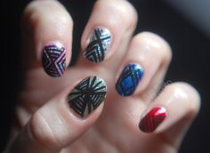 nail design= super glitter base + geometric black lines on top