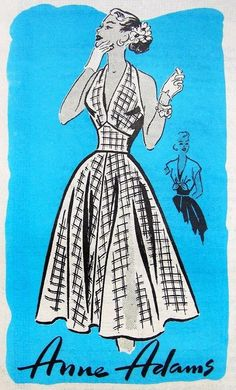 1950s Sizzling Halter Dress and Spencer Jacket Pattern Anne Adams 4633 Low V Neckline Fitted Midriff Party Dress Bust 30 Vintage Sewing Pattern