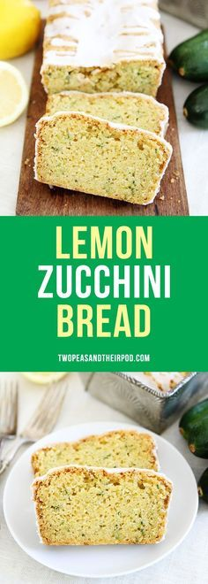 Lemon Zucchini Bread with a sweet lemon glaze! This is the BEST zucchini bread recipe! It is super moist and the lemon flavor is amazing!