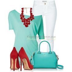 """""""Red & Turquoise Bold"""" by casuality on Polyvore"""
