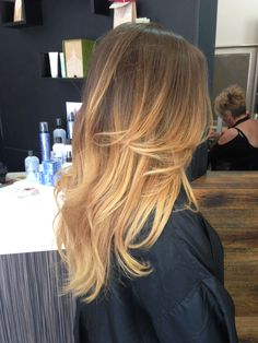 Light brown to golden blonde ombre