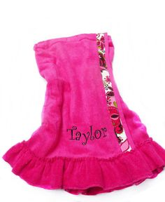 towel wrap ruffled beach wrap   Hot Pink with black by Baileywicks, $29.50