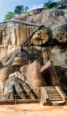 One of the lion's paws, at the base of the ladders to the top of Lion Rock, Sigiriya.