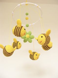 Bee Baby Shower Gift Baby Mobile Crib Baby Mobile by cherrytime
