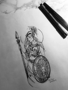 Greek Goddess Tattoo, Greek Mythology Tattoos, Roman Mythology, God Tattoos, Future Tattoos, Body Art Tattoos, Tatoos, Athena Tattoo, Artemis Tattoo
