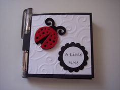 Lady Bug black and red post it note holder with gel pen. $4.00, via Etsy.