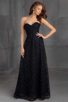 2017 Simple Sweetheart Black Lace Long Empire Bridesmaid Dress Dressesmall