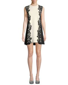 Valentino Sleeveless Crewneck A-Line 2-Tone Knit Dress with Lace-Inset | Neiman Marcus