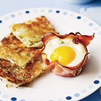 Easy breakfast idea: ham lining a muffin tin filled with cheese, scallions, and an egg. Bake for 15 minutes. Delicious