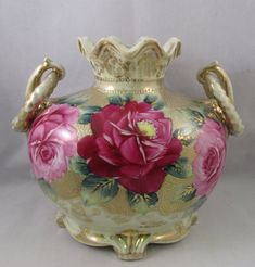 This lovely Nippon footed vase has hand painted roses around a gold beaded background. The vase has scrolled feet and elaborate handles. The mouth of the vase is scalloped. The vase dates to the late 19. | eBay!