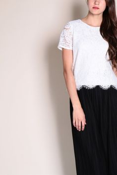 Eyelash Lace Sleeve Top (White)  $28