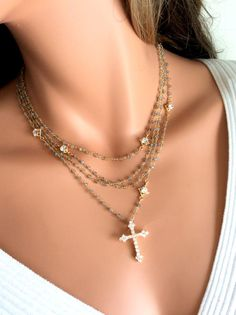 Labradorite Goldfilled Rosary Necklace by divinitycollection, $185.00
