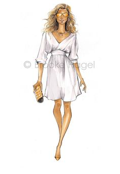 Carrie Bradshaw 2-Fashion Illustration Print-SATC by brooklit