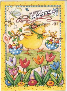 Chick in Bonnet Balancing Eggs Mary Engelbreit Easter Card by Recycled Paper Greetings Mary Engelbreit, Illustrations, Illustration Art, 5 April, Chocolate Easter Bunny, Decoupage, Easter Parade, Hoppy Easter, Easter Eggs