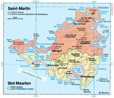 The island of Saint Martin/Sint Marteen in the Caribbeans, split between France and the Netherlands.