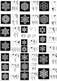 I will be needing lots of snowflake. If anyone would like to start making snowflakes for our VBS ICE Kingdom (In Christ Everlasting) I would love you forever. W (Pour Art For Kids)Snowflake Patterns by sara esterHow to cut beautiful snowflakes! Paper Snowflake Patterns, Paper Snowflakes, Christmas Snowflakes, Christmas Art, Christmas Decorations, Snowflake Craft, Crochet Christmas, Paper Snowflake Template, Snowflake Cutouts
