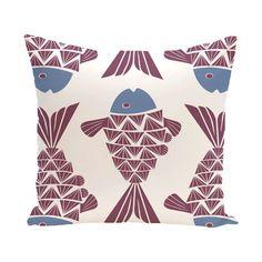 "Bay Isle Home Grand Ridge Big Fish Coastal Throw Pillow Size: 18"" H x 18"" W, Color: Purple"
