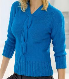 "Free Knitting Pattern for Cable Fitted Pullover - This sweater features an elegant cable that flows from the neckline down the front and three quarter length sleeves. Finished bust: 34 (38, 41, 44)"" Designed by Linda Cyr"