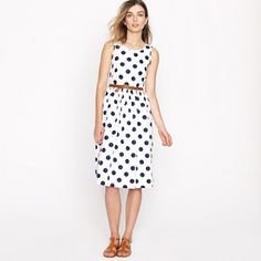 Polka dot dress, brown leather belt