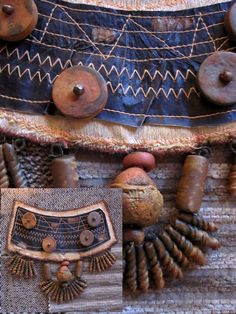 NaNi https://flic.kr/p/9muWj2 | Adorno tribal, Africa ( serie arqueológica) | Tela, plástico reciclado, polymer clay y acrílicos.