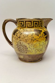 Canaryware Pitcher with Greek Key Border and Grapevine Decoration  Profuse Decoration, Excellent Form    Circa1820