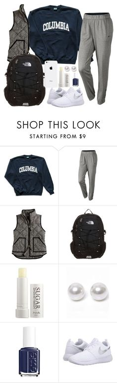 """lazy cold day outfit(((:"" by carolina-prepster ❤ liked on Polyvore featuring Columbia, NIKE, J.Crew, The North Face, Fresh, Nouv-Elle and Essie"