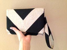 NEW Clutch Wristlet wallet in Black Denton by FoxyVida on Etsy, $34.00