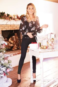 LC Lauren Conrad For Kohl's Holiday 2015: Peasant Blouse ($44), Coated Denim Jeggings ($60), Johanna Platform High Heels ($60)