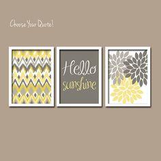 Yellow Grey Hello Sunshine iKat Inspired Flower Burst Set of 3 Prints Chevron Quote WALL ART Bedroom Bathroom Baby Nursery Choose Your Quote.