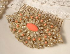 """Art Deco Coral & Clear Rhinestone TRUE Vintage Gold Bridal Hair Comb, Heirloom Pave Crystal Brooch Hair Comb by """"AmoreTreasure"""" on Etsy"""