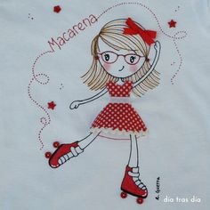 DÍA TRAS DÍA: 06.2015 Free Machine Embroidery Designs, Embroidery Applique, Embroidery Stitches, Fabric Paint Shirt, Fabric Painting, Needlepoint Patterns, Quilt Patterns, Sewing Art, Sewing Crafts