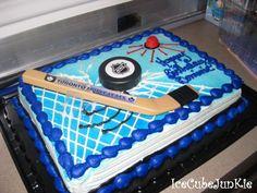 Kinda what isaacs cake will look like ! Hockey Birthday Cake, Hockey Birthday Parties, 9th Birthday Cake, Hockey Party, Skate Party, Birthday Party Themes, Kid Cupcakes, Cupcake Cakes, Costco Cake