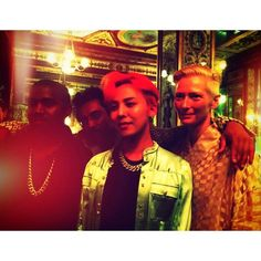 Kanye, Haider Ackermann, Me and Tilda at the Haider Ackermann dinner in Paris last-night #GOODVIBES  Photo by G-DRAGON • Instagram