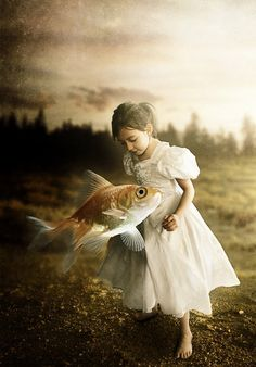 ♂ Dream ✚ Imagination ✚ Surrealism Girl in white with fish