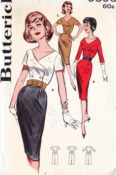 Retro Sewing Misses Sheath Dress color illustration print ad models sewing pattern red tan pencil black white combo hairstyle vintage fashion - 1960s Fashion, Trendy Fashion, Fashion Models, Vintage Fashion, White Fashion, Robes Vintage, Vintage Dresses, Vintage Outfits, 1960s Dresses