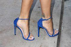 rita ora in manalo blahnik blue strappy sandals outside sirius fm. #shoeporn