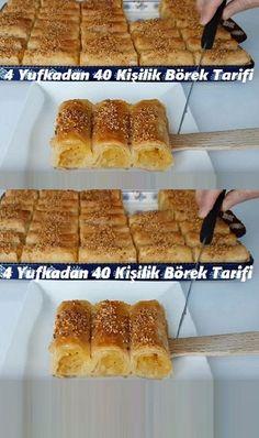 4 Yufkadan 40 Kişilik Börek Tarifi – Sebze yemekleri – Las recetas más prácticas y fáciles Pastry Recipes, Cookie Recipes, Dessert Recipes, Desserts, Homemade Donuts, Pastry Cake, Arabic Food, Turkish Recipes, Chocolate Recipes