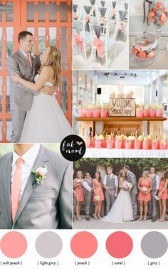 coral peach and grey wedding palette   fabmood.com