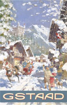 PEL112: 'Gstaad: Winter in Gstaad' - by Dexter Brown - Vintage travel posters - Winter Sports posters - Art Deco - Pullman Editions
