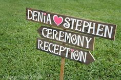 Wedding Arrow Sign is hand painted in white on reclaimed wood with the names of the Bride  Groom with a heart. Ceremony and Reception arrow signs point your guests in the right direction. Arrows and accent colors are optional.