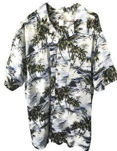 Waikiki Wear Hawaiian Shirt Size Large 100% Rayon Palm Trees/Sailboats Mens Sz L #Cherokee #Hawaiian