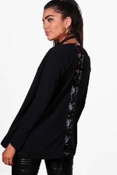 #boohoo Lace Up Back Blazer - black DZZ46956 #Julia Lace Up Back Blazer - black