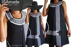 90f5a581810 MOD-448A Robe bicolore noire   blanc graphique trapèze créateur imprimé  géométrique - Photo de 2. Les Robes Trapèze   Chasuble Toutes saisons -  Robes Femme ...