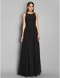 TS Couture Formal Evening / Military Ball Dress - Black Plus Sizes / Petite Sheath/Column Jewel Floor-length Chiffon