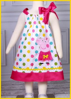 NEW Super Cute Peppa Pig Pretty polka dot by LilBitofWhimsyCoutur, $26.00