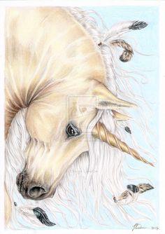 The Golden Stallion by TLondon-Art on DeviantArt - Ginger Cossey Unicorn And Fairies, Unicorn Fantasy, Real Unicorn, Unicorn Horse, Unicorns And Mermaids, Unicorn Art, Mythical Creatures Art, Magical Creatures, Fantasy Creatures